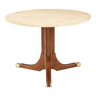 Italian Travertine and Walnut Center Table For Sale
