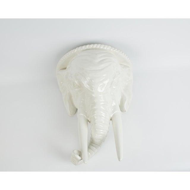 1970s Italian White Ceramic Elephant Wall Sconce Shelf For Sale - Image 13 of 13