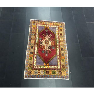Red Purple and Yellow Nomadic Traditional Handmade Decorative Aztec Turkish Rug Preview