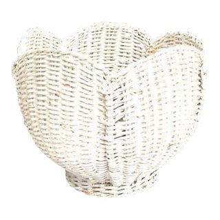 White Wicker Petal Basket For Sale