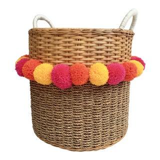 Rattan Pom Planter Basket For Sale