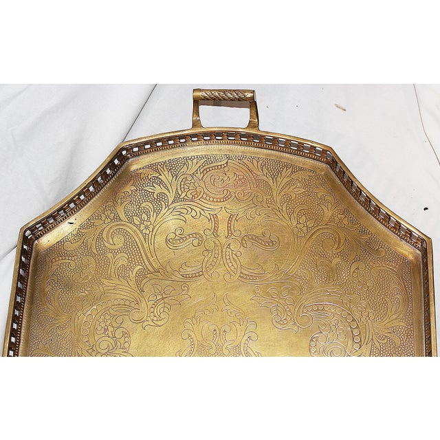 Ivory Chinoiserie-Style Brass Tray Cocktail Table For Sale - Image 7 of 7