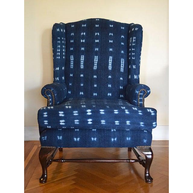 Indigo Mali Mudcloth Wingback Chair - Image 2 of 9