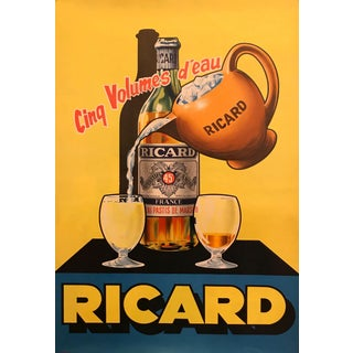 """1950's Original French Pastis \ Ricard From Marseille Art Deco Poster - Ricard """"Cinq Volumes D'eau"""" For Sale"""