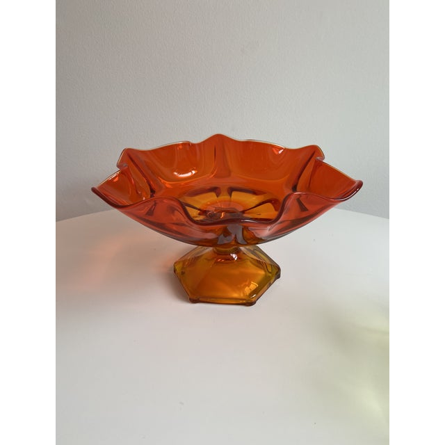 Viking Glass Company Vintage Orange Viking Glass Bowl For Sale - Image 4 of 4