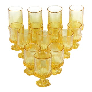 1970s Discontinued Franciscan Madeira Pattern Glasses in Cornsilk - Set of 14 For Sale