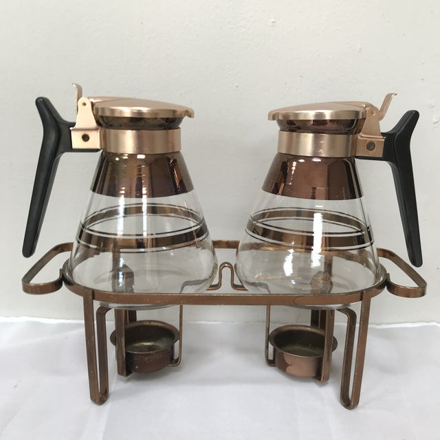 "Copper 1950s Mid-Century Modern ""Inland Glass Co"" Waffle/Coffee Carafes - 3 Pieces For Sale - Image 7 of 7"