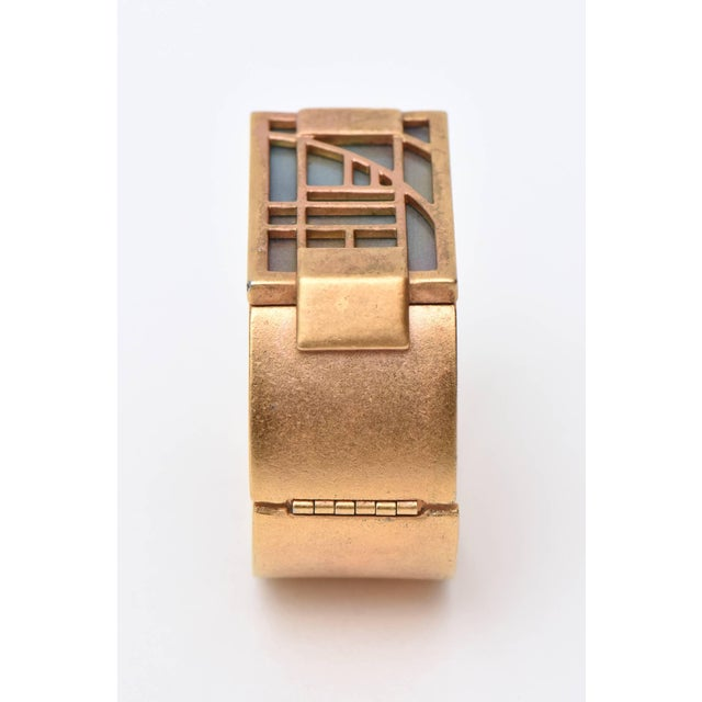 Monet Signed Gold Plated & Iridescent Resin Hinged Cuff Bracelet Final Markdown For Sale In Miami - Image 6 of 10