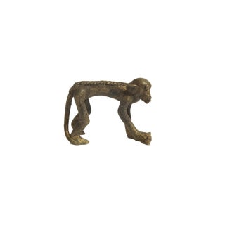 Vintage Monkey Bronze Gold Weight with Banana in Hand all Fours