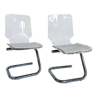 1970s Vintage Luigi Bardini Italian Lucite Chairs- a Pair For Sale
