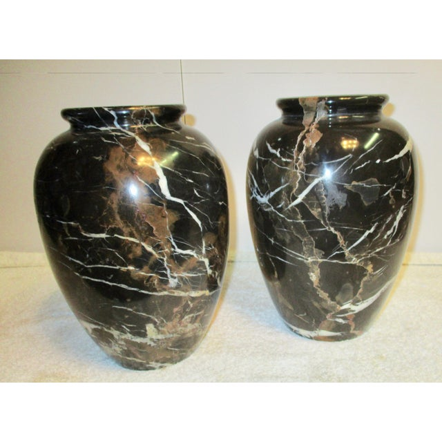 Large Black Brown Marble Vases A Pair Chairish