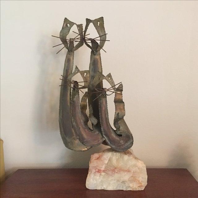 Brustalist-Style Brass Cat Sculpture - Image 6 of 6