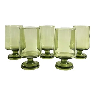 Mid Century Tapered Green Cordial Glasses - Set of 5 For Sale