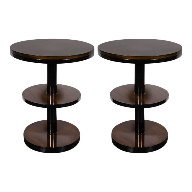 Machine Age Pair of Art Deco Three-Tier Column-Form Occasional Tables For Sale
