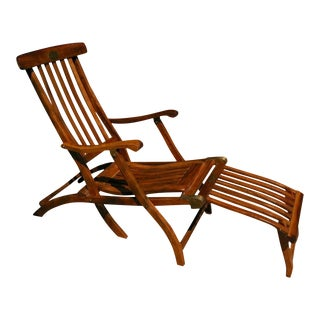 1940s Vintage Solid Teak First Class Ocean Liner Deck Chair For Sale