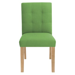 Dining Chair in Linen Kelly Green For Sale
