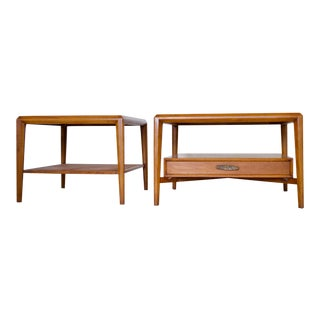 Vintage Mid-Century Drexel Heritage Solid Walnut End Tables/Coffee Table - Set of 2
