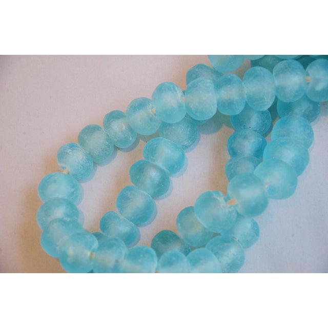 Mediterranean Jumbo Azure Blue Glass Beads - a Pair - Image 4 of 7