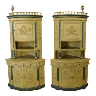 Antique Victorian Carved & Paint Decorated Corner Cabinet Cupboards - a Pair