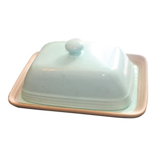 Sea Foam Green Ceramic Butter Tray With Lit For Sale