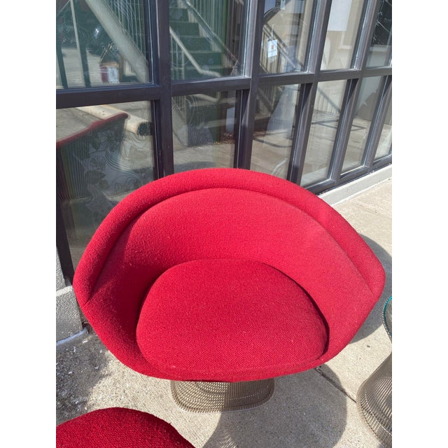 Warren Platner for Knoll Furniture Red Lounge Chair, Red Stool & Glass End Table. Great condition with authenticity stamps...