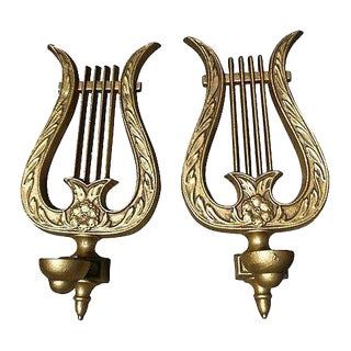 Vintage Brass Harp Candle Holders - A Pair