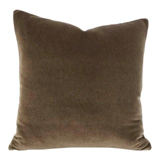 "Dark Wood Brown Mohair Velvet Pillow Cover - 20"" X 20"" For Sale"