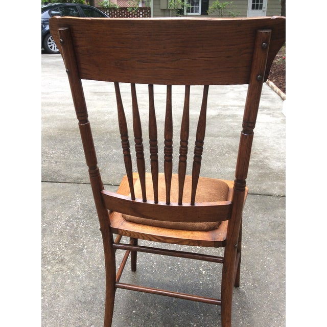 Antique Pressed Oak Spindle Back Chairs - Set of 6 - Image 8 of 10 - Antique Pressed Oak Spindle Back Chairs - Set Of 6 Chairish