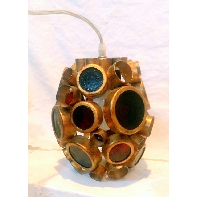 Vintage Brass & Espresso Glass Barnacle Pendant Light - Image 2 of 9