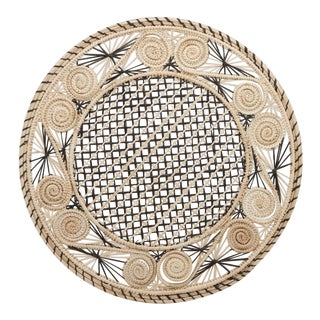 Brown and Cream Round Iraca Fibre Placemat For Sale