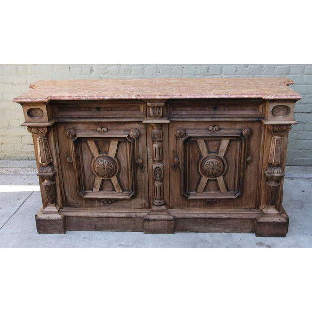 Italian Walnut & Marble Top Credenza - Image 2 of 10