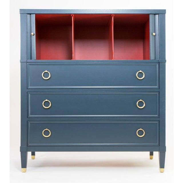 Baker Teal & Red Milling Road Tambour Dresser - Image 3 of 8