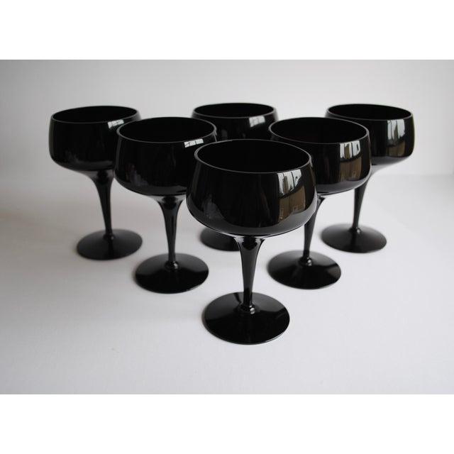 Mid-Century Black Cocktail Glasses - Set of 6 - Image 4 of 4