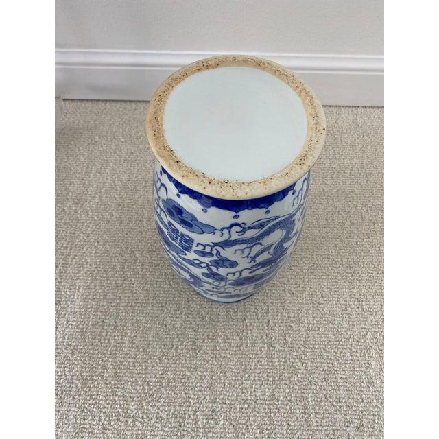 Chinoiserie Blue & White Porcelain Vase For Sale - Image 4 of 10