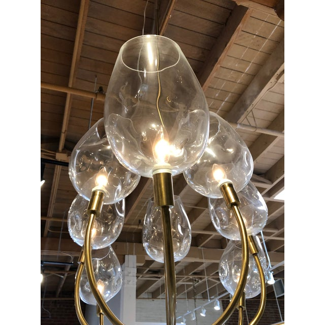 2010s Mid Century Ten Light Chandelier For Sale - Image 5 of 7