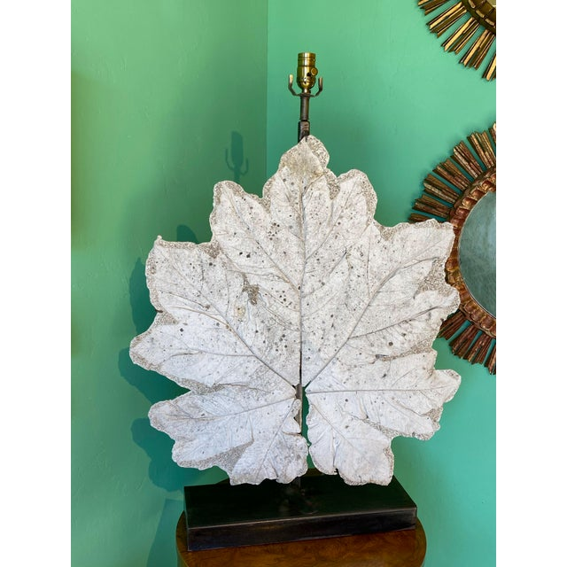 French French Lamp With Vintage Plaster Leaf For Sale - Image 3 of 8