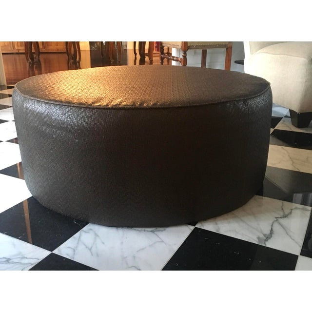 Animal Skin Vintage Leather Ottoman in the Style of Ralph Lauren For Sale - Image 7 of 7