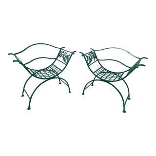 Wrought Iron Oak Leaf Motif Curule Benches, Provenance Celine Dion - a Pair For Sale