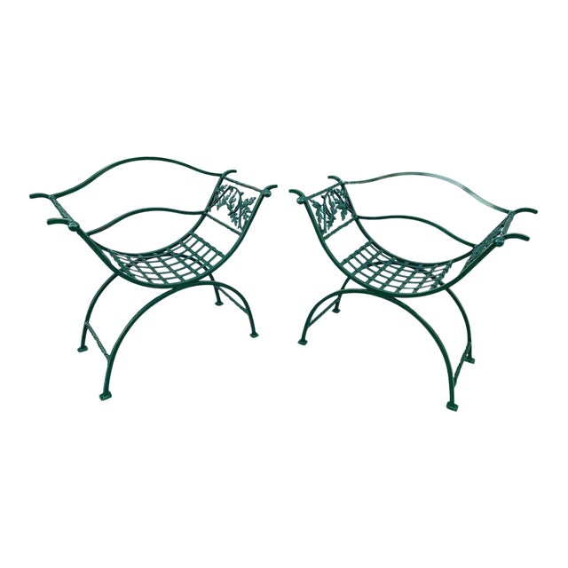 Wrought Iron Oak Leaf Motif Curule Benches, Provenance Celine Dion - a Pair For Sale