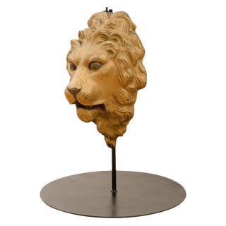 Cast Iron Lion's Head Architectural Medallion Circa 1920