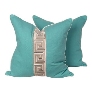 Turquoise Linen and Taupe Greek Key Pillows - a Pair For Sale