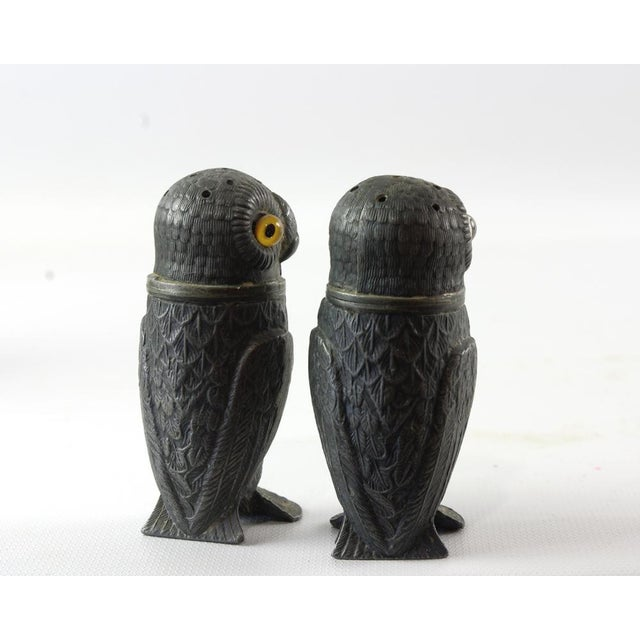 Antique Pewter Owl Pepper Pots with Glass Eyes - A Pair For Sale - Image 4 of 6