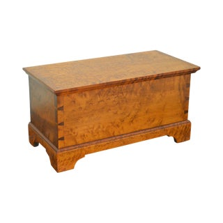 Birdseye Maple Custom Chippendale Style Dovetailed Small Lidded Chest Bible Box For Sale