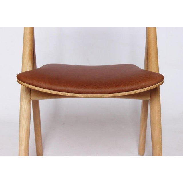 Animal Skin 1970s Scandinavian Modern Hans J. Wegner Sawbuck Chair For Sale - Image 7 of 10