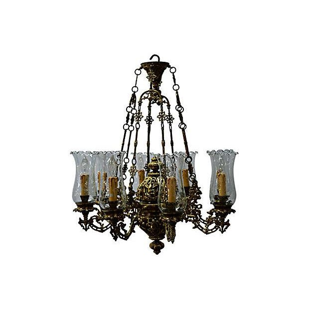 Antique Brass Chandelier 8 Lights W/Windshields - Image 3 of 7