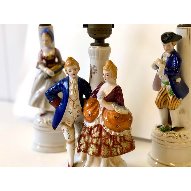 Old Paris Porcelain Lamps With Musician and Dancer Figurines - Set of 3 For Sale - Image 4 of 13