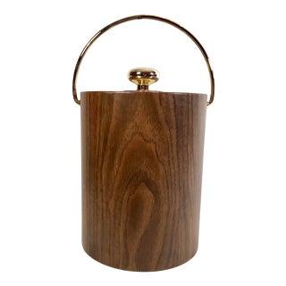 Mid-Century Modern Woodgrain Ice Bucket For Sale