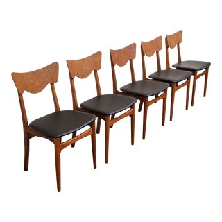 "Original Danish Mid Century Modern Teak Dining Chair - Set of 5 - ""Paul"" For Sale"