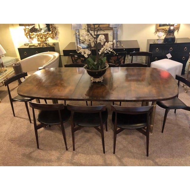 Mid-Century Modern Master-Craft Bamboo Brass and Burl Dining Room Table