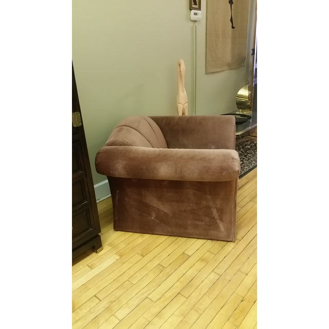 1980s Mauve Upholstered Clamshell Arm Chair For Sale - Image 4 of 7